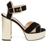 Nicholas Kirkwood Elements Snake-effect Heel Suede Platform Sandals - Womens - Black Gold
