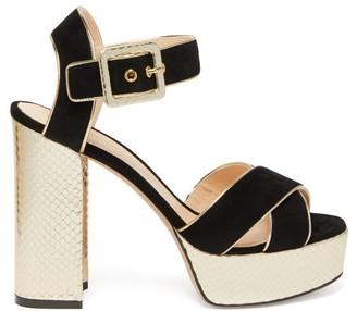 Nicholas Kirkwood Elements Snake-effect Heel Suede Platform Sandals - Womens - Black Gold