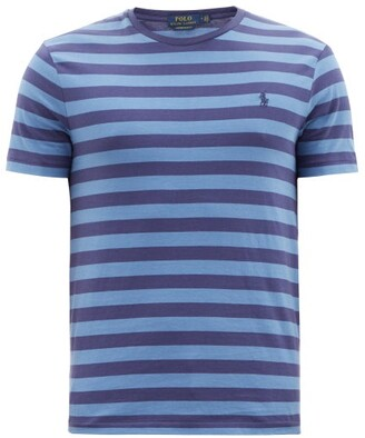 Polo Ralph Lauren Striped Logo-embroidered Cotton-jersey T-shirt - Navy Multi