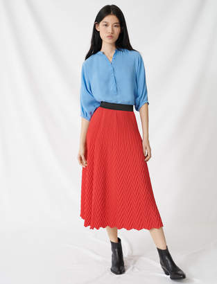 Maje Long skirt with chevron pleat