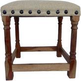 One Kings Lane Vintage Wood & Linen Bench