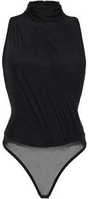 Herve Leger Gathered Jersey And Stretch-mesh Bodysuit