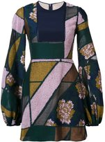 Roksanda bell-sleeve patchwork dress - women - Silk/Cotton/Acrylic/Wool - 8
