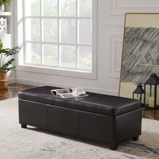 Latitude Run Rectangular Faux Leather Large Storage Ottoman End Bed Bench