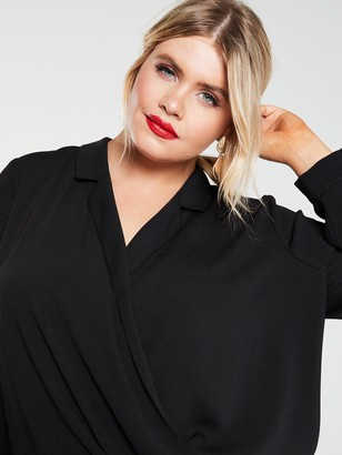V By Very Curve Wrap Step Back Hem Blouse - Black