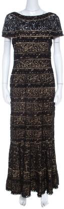 Tadashi Shoji Black Lace Paneled Overlay Sheer Yoke Gown M