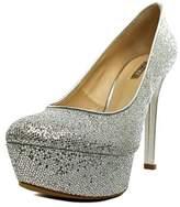 GUESS Etten Women Open Toe Synthetic Silver Platform Heel.