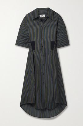 MM6 MAISON MARGIELA Pinstriped Twill Midi Shirt Dress - Black