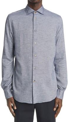 Boglioli Donegal Herringbone Long Sleeve Button-Up Shirt