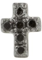 Sydney Evan Black Diamond Cross Stud Earring