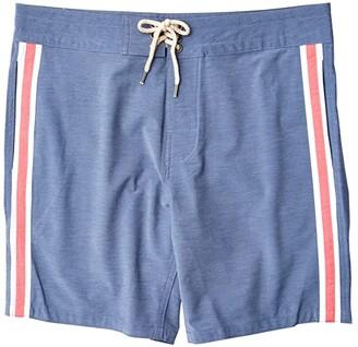 Faherty Retro Surf Stripe Boardshorts (Blue/Red Stripe) Men's Swimwear