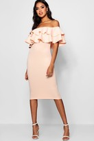 boohoo Bardot Layered Frill Detail Midi Dress