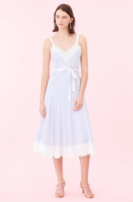 Rebecca Taylor Cotton Stripe & Lace Dress