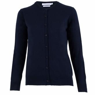 Paul James Knitwear Womens 100% Cotton Fine Button Through Cardigan (Navy XL)