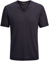 Lyocell Jersey V Neck Tee In Navy