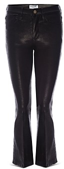 Frame Le Crop Mini Boot Leather Jeans in Noir