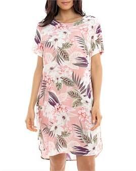 Jump Short Sleeve Tropical Print Dress