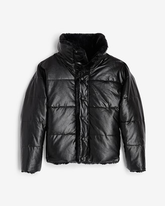 Express Reversible Vegan Leather & Faux Fur Puffer Coat