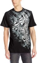 Southpole Men's Flock and Screen Print Graphic Tee with Asymmetric Vertical Logo