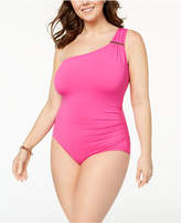 MICHAEL Michael Kors Size Tummy-Control One-Shoulder One-Piece Swimsuit