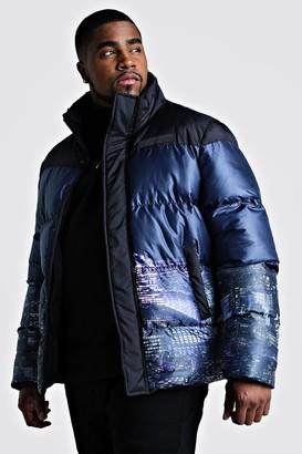 boohoo Mens Black Big & Tall Night Sky Printed Puffer Coat, Black