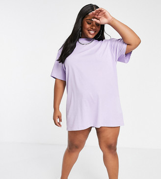 New Girl Order Curve logo T-shirt dress in lilac