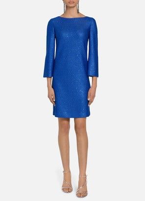 St. John Luxe Sequined Tuck Knit Dress