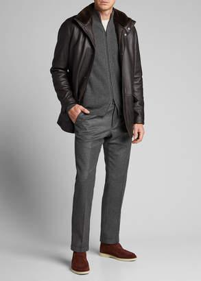 Loro Piana Men's Voyager Fur-Trim Leather Jacket