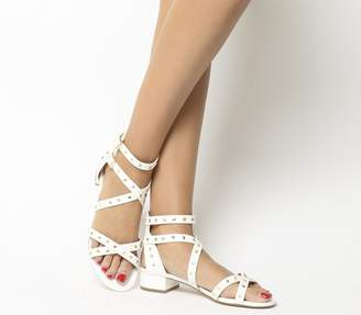Office Manhattan Strappy Block Heels White With Gold Studs