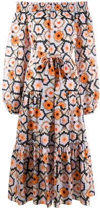 Temperley London Crochet-Print Off-Shoulder Dress