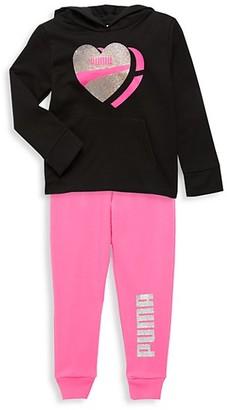 Puma Little Girl's 2-Piece Logo Hoodie Jogging Pants Set