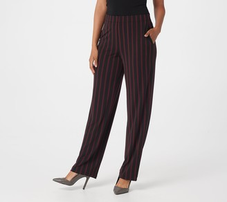 Susan Graver Petite Printed Liquid Knit Straight-Leg Pants