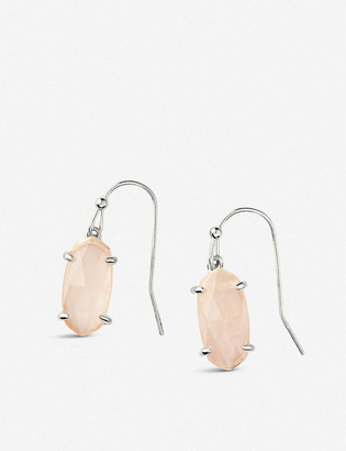 Kendra Scott Lemmi rhodium-plated and rose quartz drop earrings