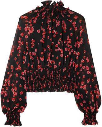 Giambattista Valli Shirred Silk Blouse