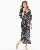 Soma Intimates Embroidered Cotton Long Robe Black With Ivory Embroidery
