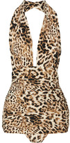 Norma Kamali Bill Ruched Leopard-print Halterneck Swimsuit - Light brown