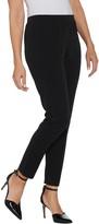 Susan Graver Petite Metallic Knit Slim-Leg Ankle Pants