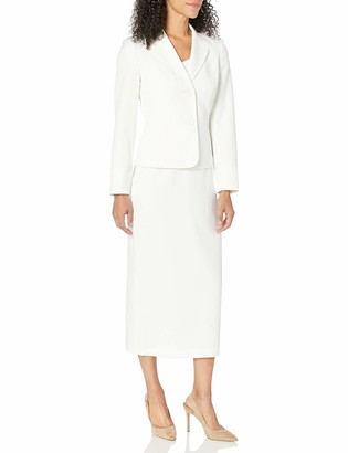 Le Suit LeSuit Women's 2 Button Notch Collar Glazed Melange Column Skirt Suit