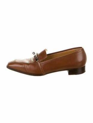 Hermes Vintage Jules Kelly Lock Loafers Brown