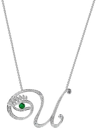 Tabayer Eye 18K White Gold, Emerald & Diamond Unique Pendant Necklace