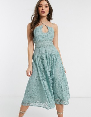 ASOS DESIGN cami strap midi prom dress in lace with circle trims