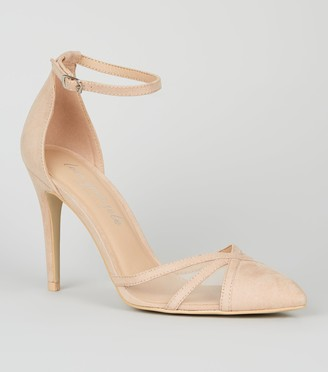 New Look Suedette Strappy Mesh Stiletto Court Shoes