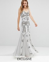 Maya Delicate Embellished Maxi Dress with Fishtail