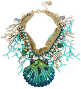 Betsey Johnson Gold-Tone Multi-Stone Shell Statement Necklace