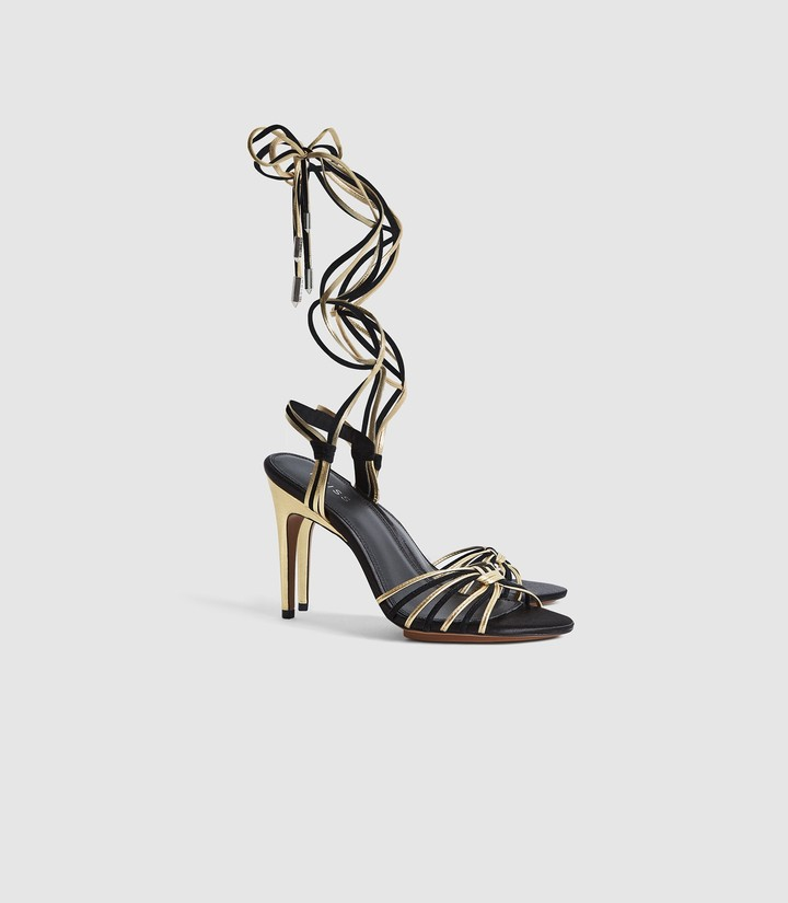 Thumbnail for your product : Reiss CASSIDY STRAPPY HIGH HEELED SANDALS Gold