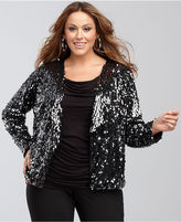 INC International Concepts Plus Size Jacket, Sequin Open-Front Collarless