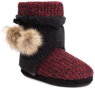 Muk Luks Delanie Faux Fur Pompom Knit Boot Slipper