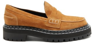 Proenza Schouler Topstitched Suede Penny Loafers - Tan