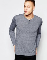 Asos Cotton Sweater with Henley Neck in Navy Twist