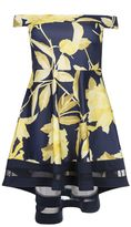 Quiz Curve Navy And Yellow Floral Print Bardot Dip Hem Dress